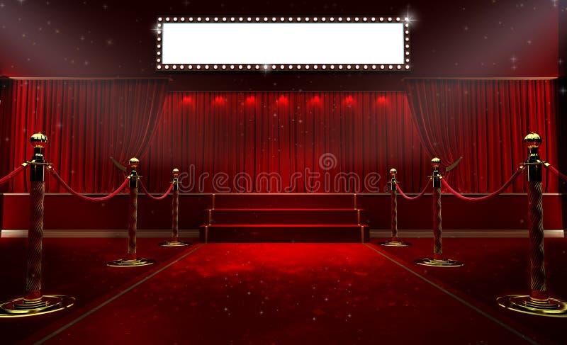 rendição 3d do fundo com uma cortina vermelha e um projetor imagem de stock