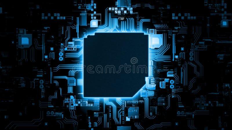 rendição 3D do fundo de incandescência azul da placa de circuito do sumário com espaço da cópia no centro para seu texto imagem de stock royalty free