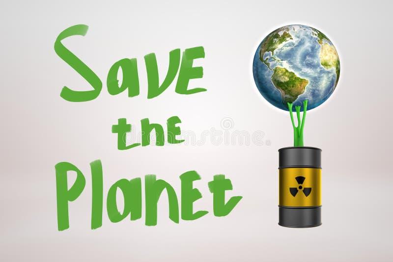 rendição 3d do globo da terra colada ao tambor preto dos resíduos tóxicos com limo pegajoso verde e para salvar o sinal do planet ilustração do vetor