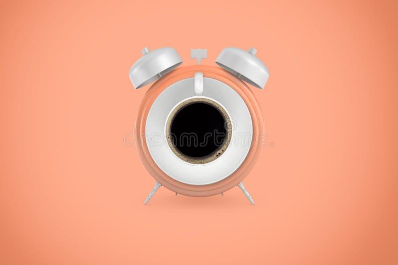 rendição 3d do grande despertador retro com uma xícara de café no lugar de sua cara em um fundo pêssego-colorido imagem de stock