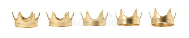 rendição 3d do grupo de coroa real dourada isolada em um fundo branco ilustração do vetor