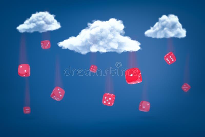rendi??o 3d do grupo de dados vermelhos que caem para baixo de tr?s nuvens brancas no fundo azul ilustração do vetor