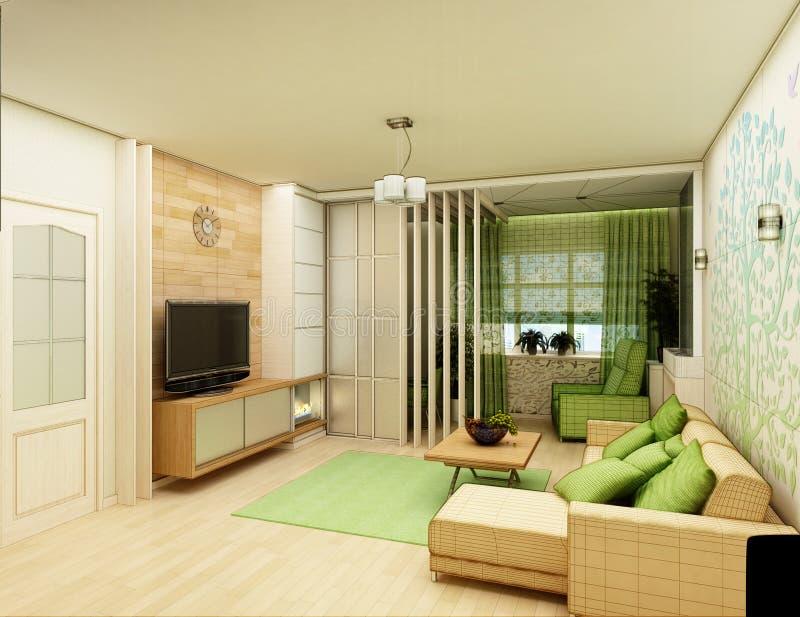 Rendição 3D do interior branco da sala de visitas imagens de stock royalty free