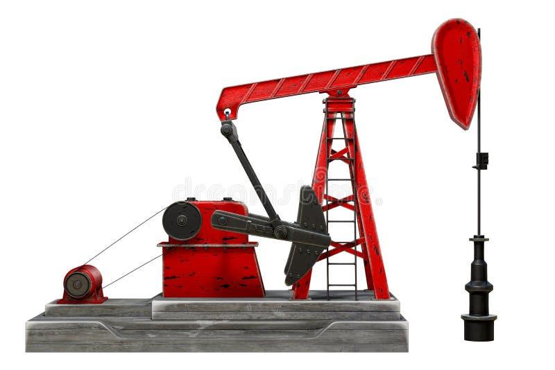 rendição 3d do jaque da bomba de óleo ou inclinação da unidade de bombeamento do cavalo, isolada no fundo branco com grampeamento ilustração stock