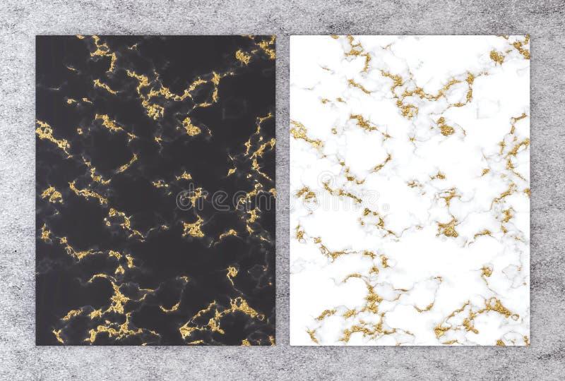 rendição 3D do mármore preto e branco com folha dourada para o cartão do convite do casamento e do cumprimento ou o seu design de ilustração royalty free