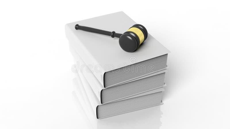 rendição 3D do martelo em três livros de capa dura vazios ilustração stock
