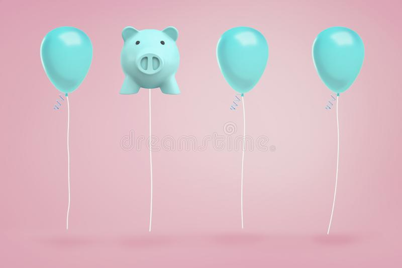 a rendição 3d do mealheiro azul que pendura em uma corda gosta do balão entre balões reais do festival no fundo cor-de-rosa imagens de stock royalty free
