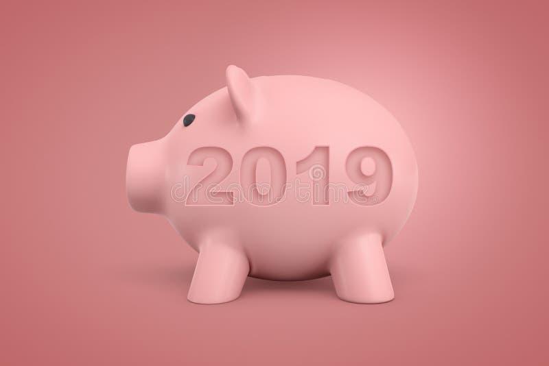 rendição 3d do mealheiro cor-de-rosa com um sinal 2019 no fundo cor-de-rosa ilustração royalty free