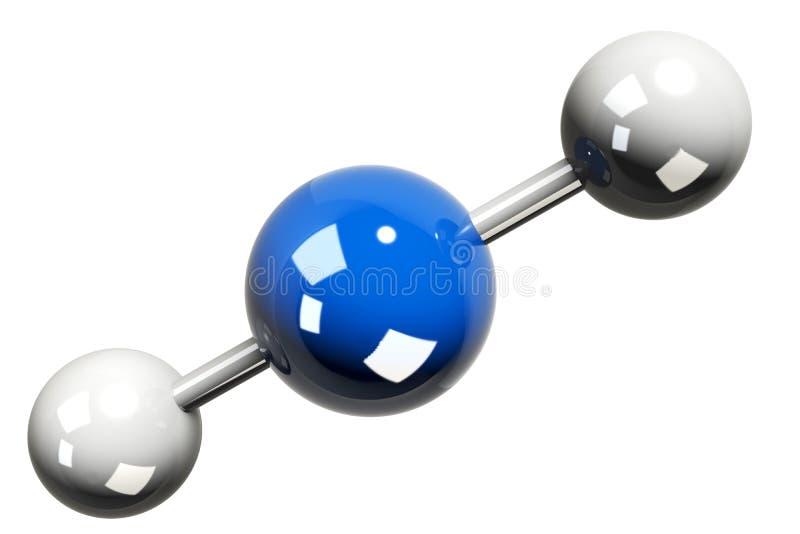 rendição 3D do modelo da molécula do dióxido de carbono (CO2) ilustração do vetor