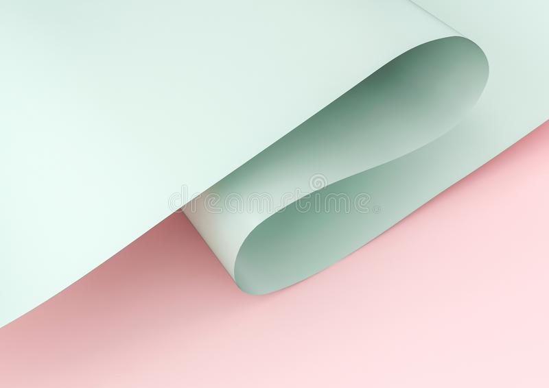 rendição 3d do papel acenado verde isolado no fundo cor-de-rosa ilustração do vetor