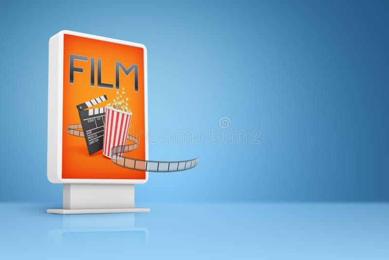 rendição 3d do quadro de avisos alaranjado com sinal do FILME, cubeta da pipoca, válvula do filme e carretel de filme no fundo az ilustração do vetor