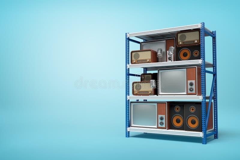 rendi??o 3d do r?dio e de aparelhos de televis?o retros velhos nas prateleiras azuis de prata da cremalheira do metal no fundo az fotografia de stock