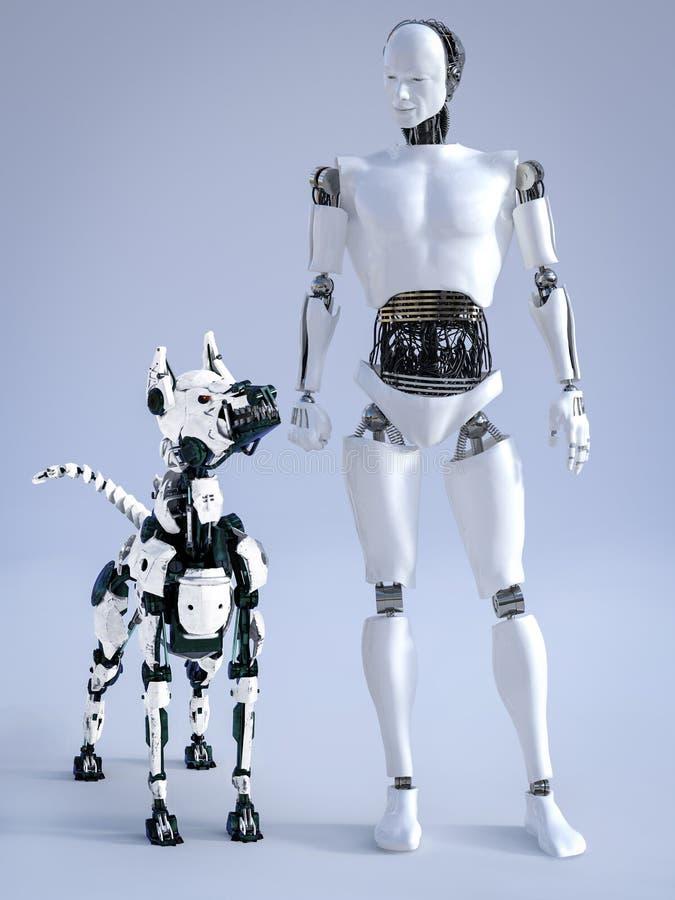 rendição 3D do robô masculino com um cão futurista do robô