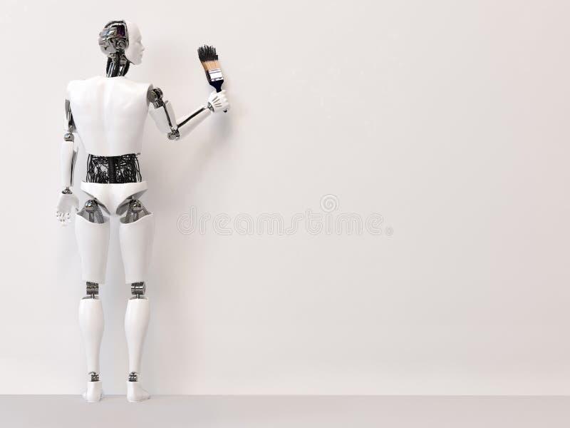 rendição 3D do robô masculino que guarda a escova de pintura