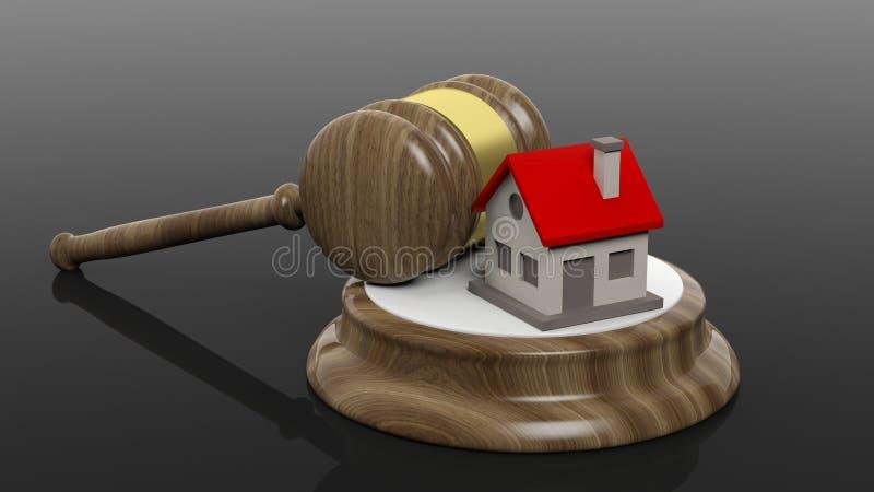 rendição 3D do símbolo de madeira do martelo e da casa ilustração do vetor