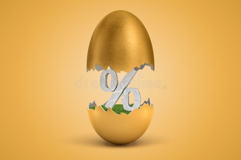rendi??o 3d do s?mbolo de pedra dos por cento que chocou fora do ovo dourado ilustração stock