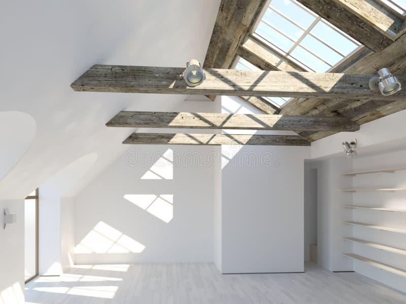 rendição 3d do sótão novo interior com as janelas de madeira grandes ilustração do vetor