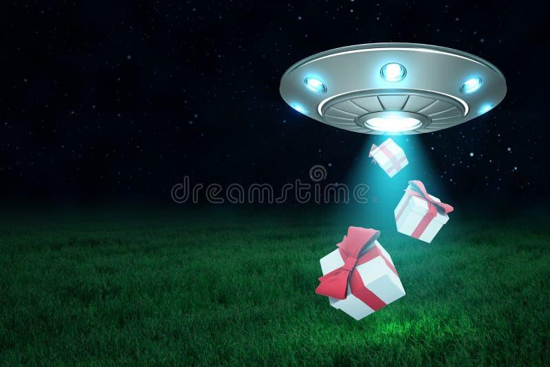 rendição 3d do UFO de prata do metal com as duas caixas de presente no fundo do céu noturno escuro e da grama verde ilustração stock