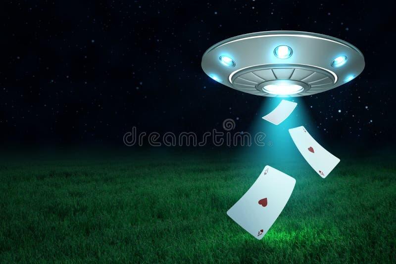 rendi??o 3d do UFO de prata do metal com jogo de cart?es do cora??o do ?s no fundo do c?u noturno escuro e da grama verde ilustração royalty free
