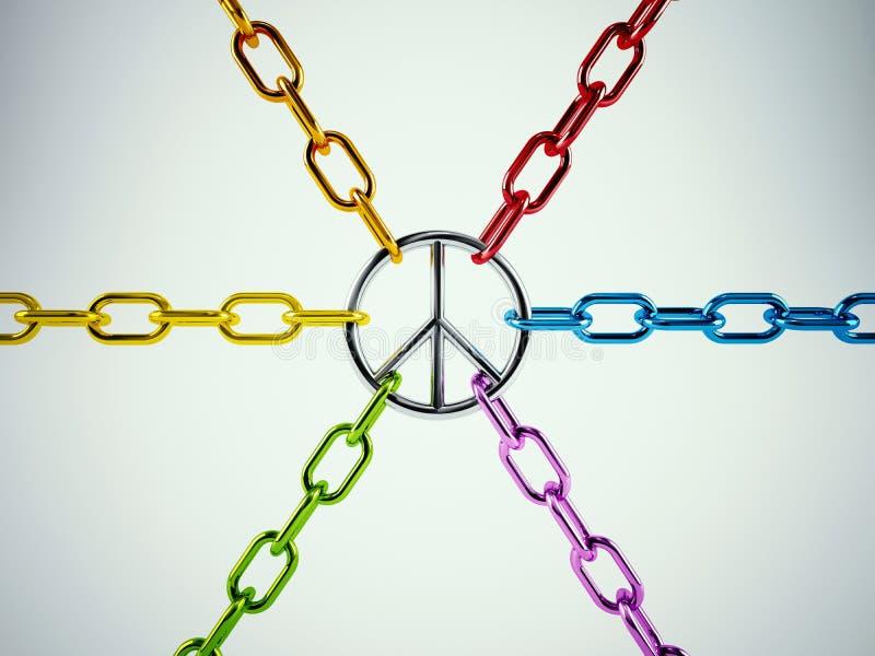 rendição 3D do unido para a paz foto de stock royalty free