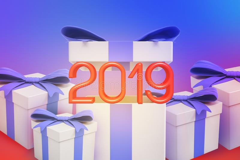 rendição 3d do vermelho '2019 'sinais que aparecem fora de uma das caixas de presente com fitas violetas ilustração royalty free