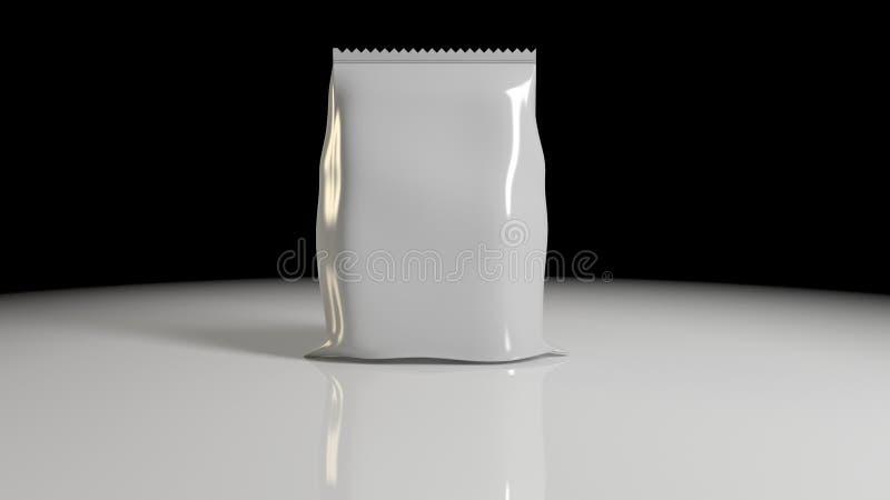 a rendição 3d do vertical selou o saco plástico vazio da folha para Packa ilustração stock