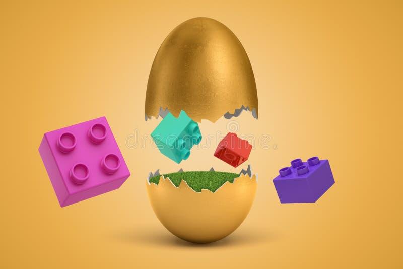 rendição 3d do voo colorido dos tijolos do brinquedo em torno do ovo dourado quebrado de que chocaram ilustração do vetor
