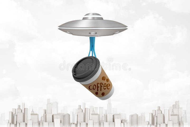 rendição 3d do voo luz-cinzento do UFO acima da cidade moderna, copo de café de papel levando que pendura para baixo no limo pega ilustração stock