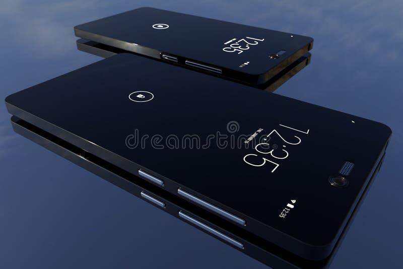 rendição 3d Dois smartphones modernos imagens de stock royalty free