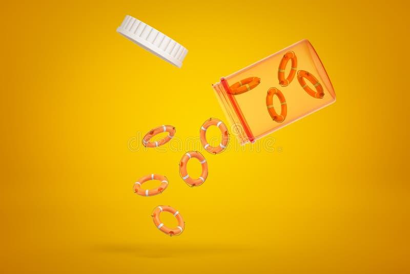 rendição 3d dos anéis alaranjados do boia salva-vidas que caem de um frasco plástico no fundo amarelo ilustração royalty free