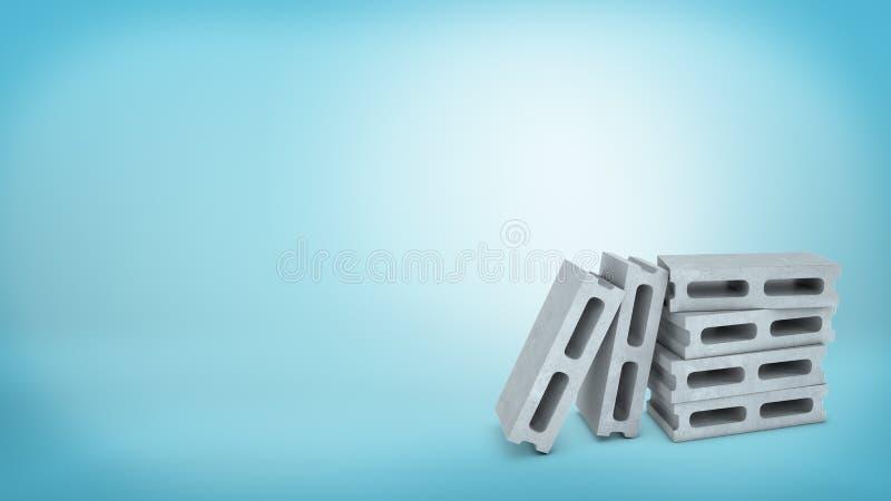a rendição 3d dos blocos de cimento celulares de uns quatro cinzas empilhados sobre se e dois outro obstrui a inclinação da posiç ilustração stock
