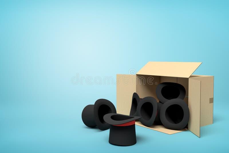 rendição 3d dos chapéus altos pretos que caem fora de uma caixa da caixa no fundo azul ilustração royalty free
