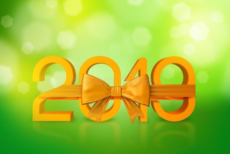 rendição 3d dos dígitos dourados 2019 amarrados com uma fita dourada no fundo verde borrado ilustração stock