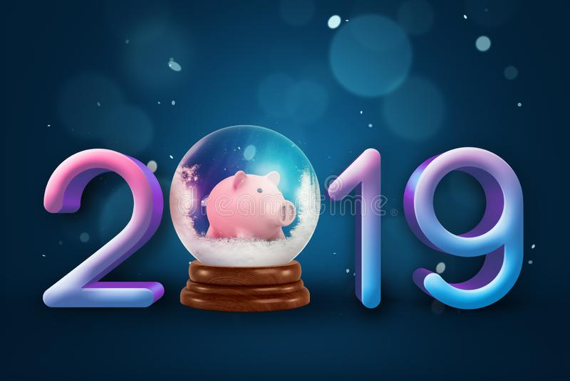 rendição 3d dos dígitos 2019, uma bola decorativa do crystall com pouco mealheiro dentro dele em vez de um dígito zero ilustração do vetor