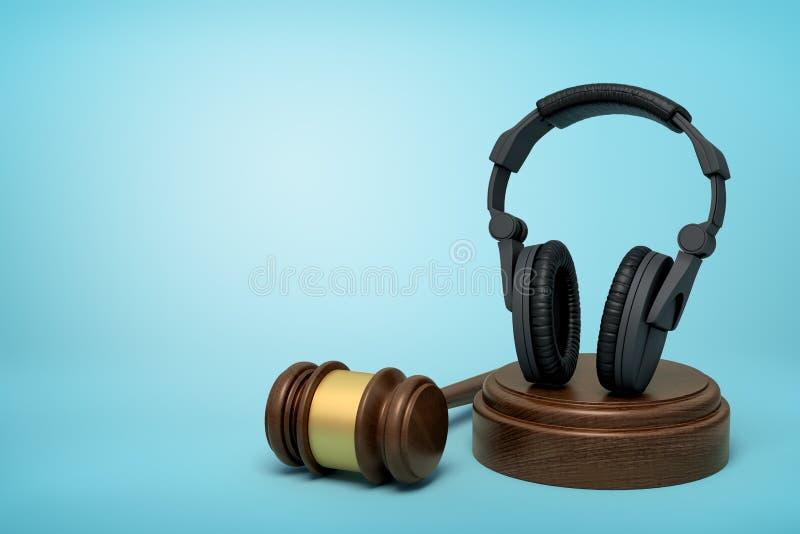 rendição 3d dos fones de ouvido pretos que estão verticalmente em soar o bloco com o martelo do juiz ao lado no fundo luz-azul ilustração stock