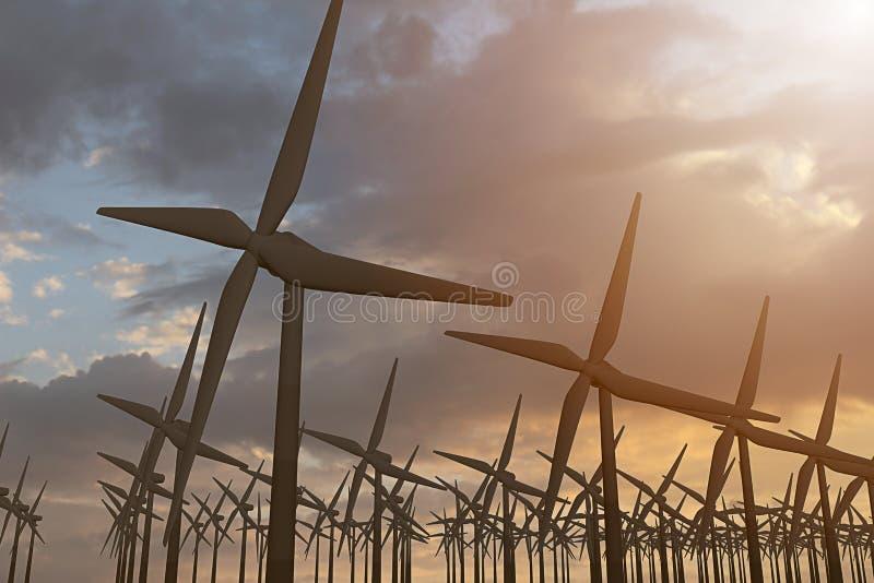 rendição 3D dos moinhos de vento produzindo a energia na noite imagem de stock