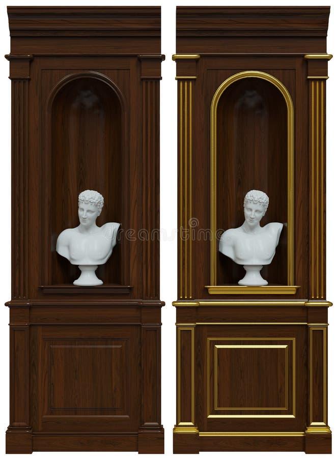 rendição 3d dos painéis de madeira com ameia ilustração royalty free