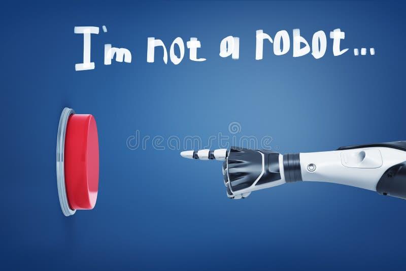 a rendição 3d dos pontos robóticos brancos do braço em um grande botão vermelho sob uma frase eu não sou um robô escrito acima ilustração royalty free