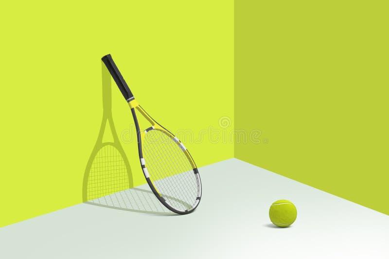rendição 3d dos suportes da raquete de tênis que inclinam-se em uma parede amarela brilhante com uma bola que encontra-se em um a ilustração royalty free