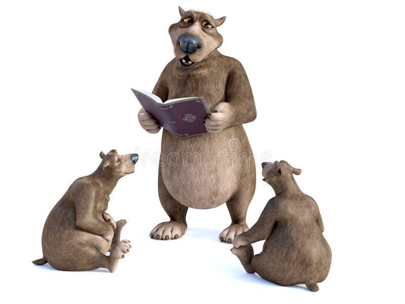 rendição 3D dos ursos dos desenhos animados que têm um storytime ilustração do vetor