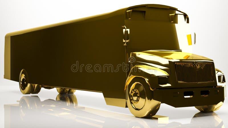 rendição 3d dourada de um ônibus escolar dentro de um estúdio ilustração stock