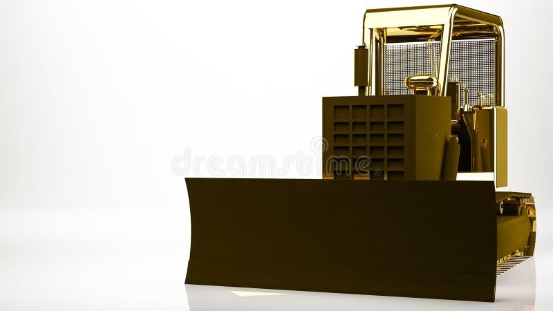 rendição 3d dourada de um caminhão da construção dentro de um estúdio ilustração stock