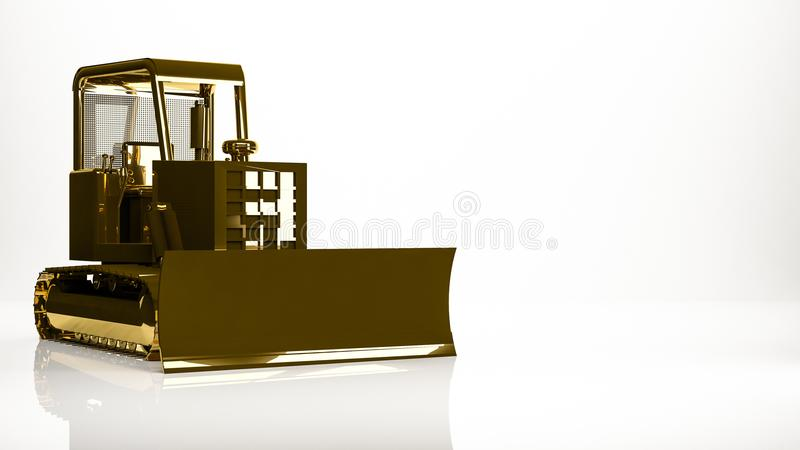 rendição 3d dourada de um caminhão da construção dentro de um estúdio ilustração royalty free