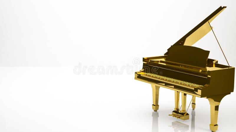 rendição 3d dourada de um piano dentro de um estúdio ilustração do vetor