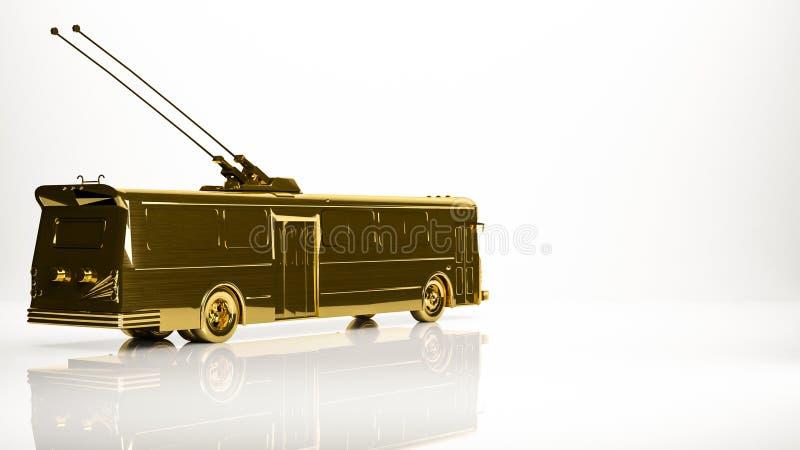 rendição 3d dourada de um trolebus do carro em um estúdio ilustração royalty free