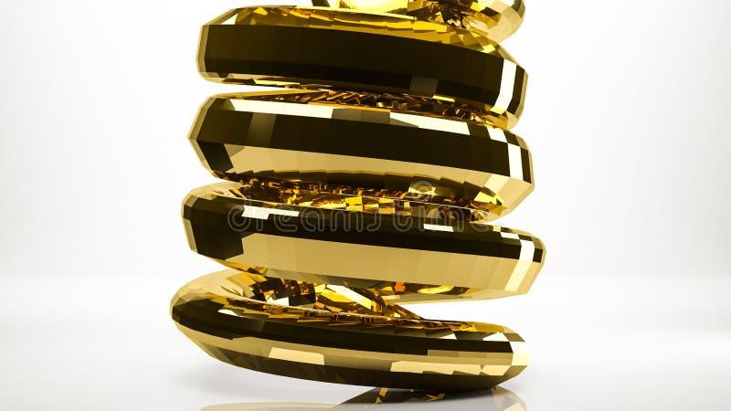 rendição 3d dourada de uma cobra dentro de um estúdio ilustração do vetor