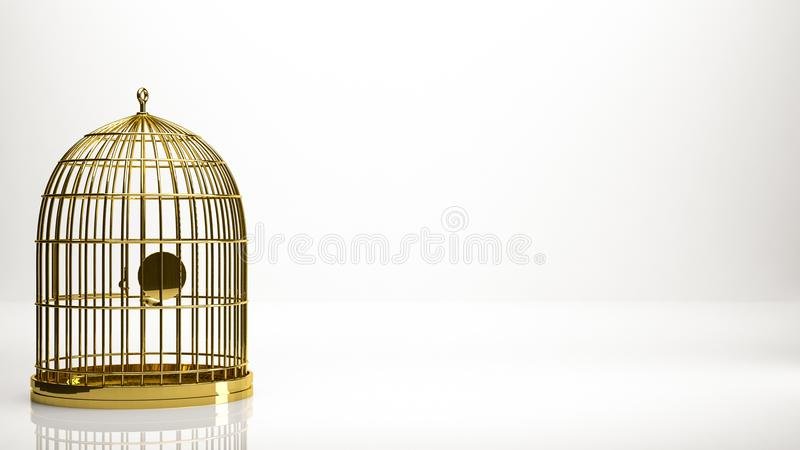 rendição 3d dourada de uma gaiola dentro de um estúdio ilustração stock