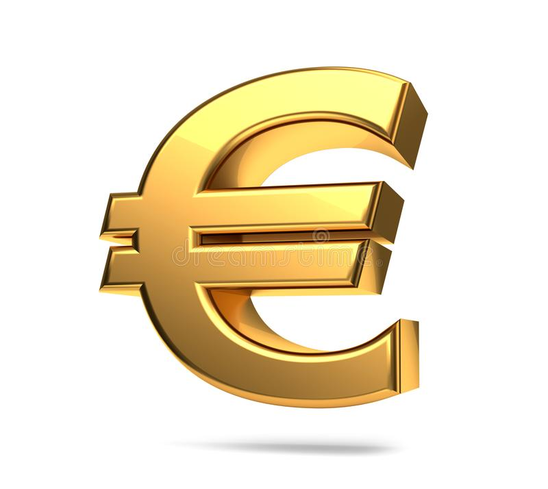 Rendição 3d dourada do símbolo do Euro isolada ilustração stock