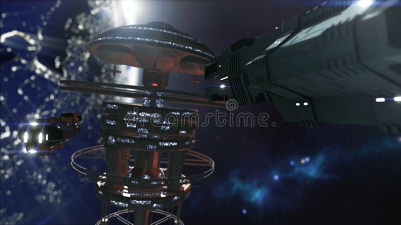 rendição 3d Estação espacial poderosa e uma nave espacial do scifi ilustração royalty free