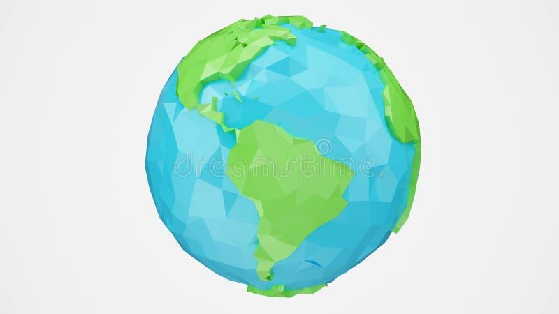 a rendição 3D girou a baixa terra poli com canal alfa, ilustração do globo Globo poligonal isolado no fundo branco fotos de stock royalty free